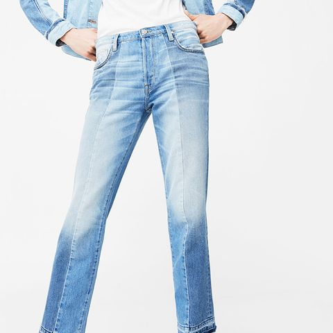 Straight Crop Mix Jeans