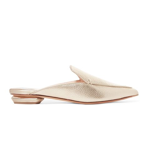 Beya Metallic Textured-Leather Slippers