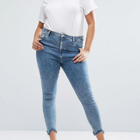 High Waist Ridley Skinny Jeans in Rula Mottled Wash With Arched Raw Hem