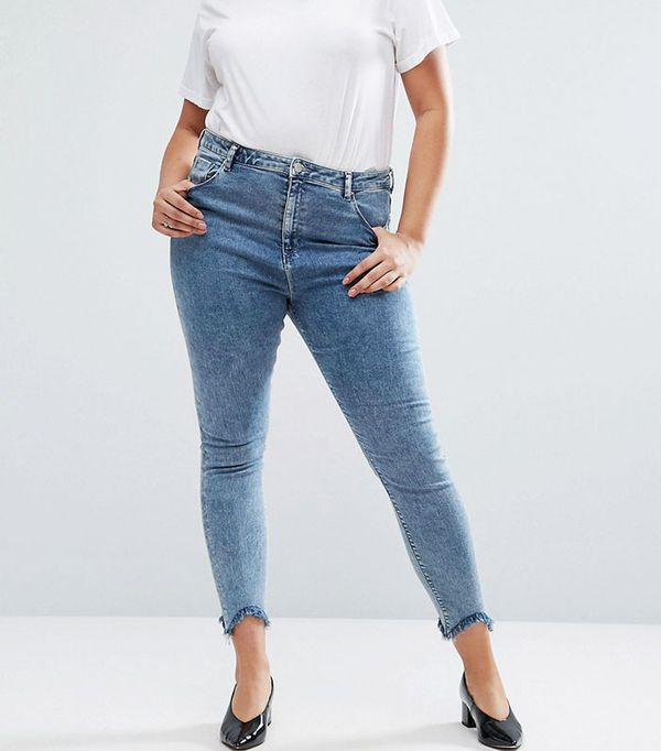ASOS Curve High Waist Ridley Skinny Jeans in Rula Mottled Wash with Arched Raw Hem