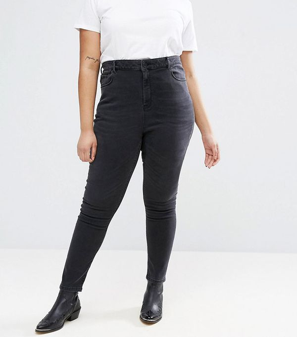 ASOS Curve Ridley High Waist Skinny Jeans in Quintessential Washed Black