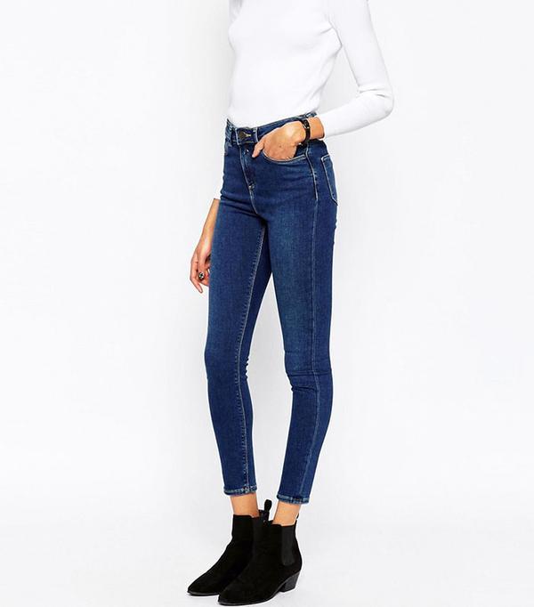 ASOS Ridley High Waist Skinny Jeans in Botanic Dark Stonewash