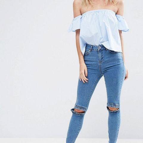 Petite Ridley Skinny Jeans in Luella Pretty Blue With Frill Knee and Arched Raw Hem