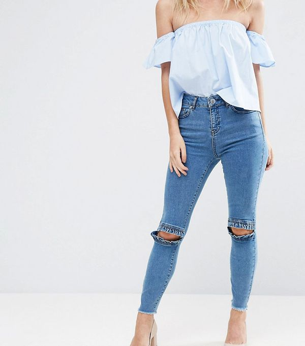 ASOS Petite Ridley Skinny Jeans in Luella Pretty Blue with Frill Knee and Arched Raw Hem
