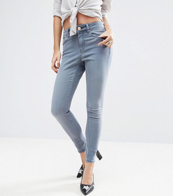 ASOS Petite Ridley Skinny Jeans in Steel Gray