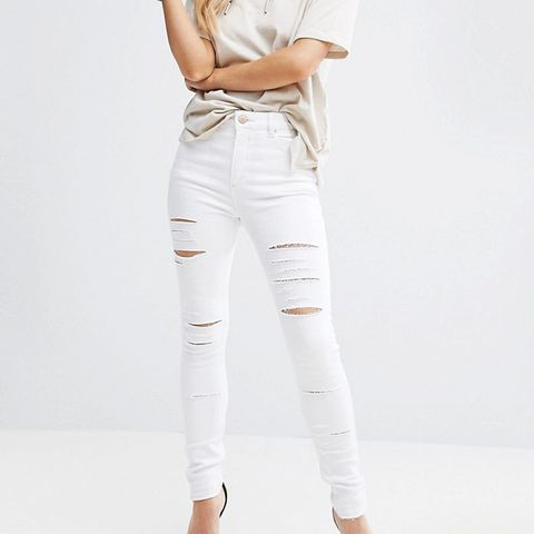 Petite Ridley Full Length High Waist Skinny Jeans in White With Shredded Rips