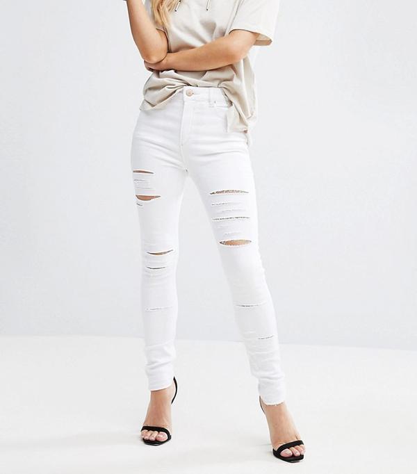 ASOS Petite Ridley Full Length High Waist Skinny Jeans in White with Shredded Rips