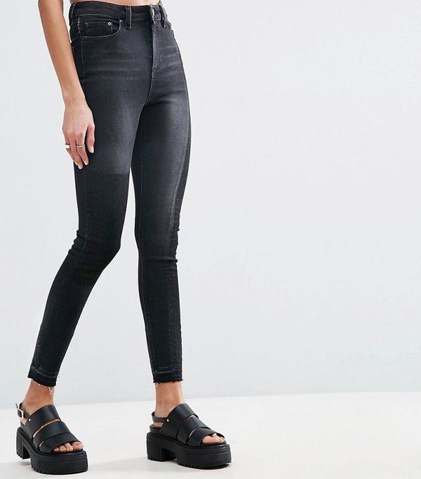 ASOS Ridley Skinny Jeans in Deconstructed with Rip and Repair in Washed Black