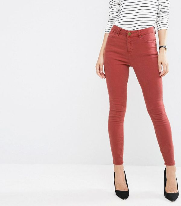 ASOS Ridley High Waist Skinny Jeans in Rust