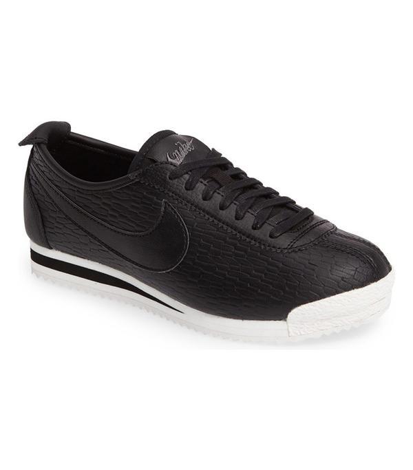 best black leather sneakers- nike cortez