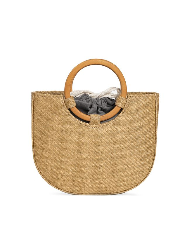 Pixie Market Rattan Straw Circle Handle Bag