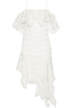 Asymmetric Striped Lace and Twill Minidress