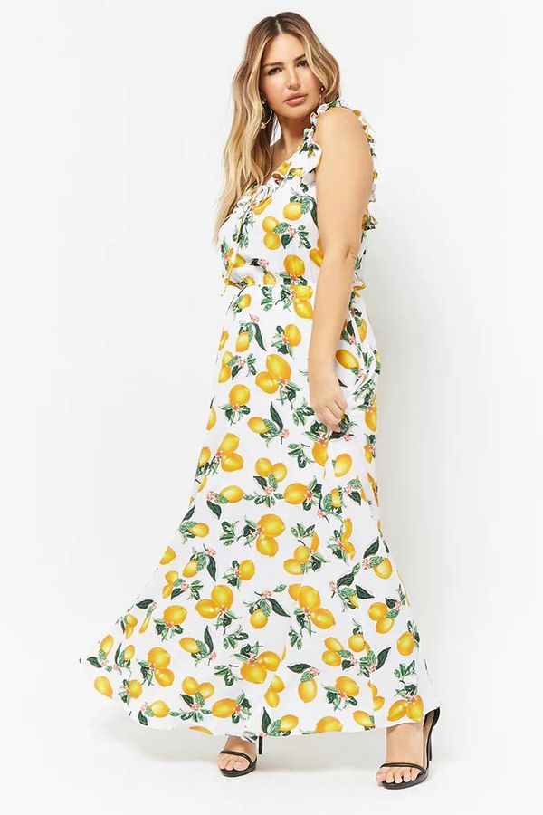 Forever 21 ETA Lemon Print Ruffle-Trim Maxi Dress