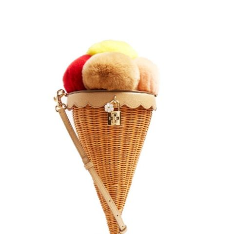 Ice-Cream Cone Fur and Woven Shoulder Bag