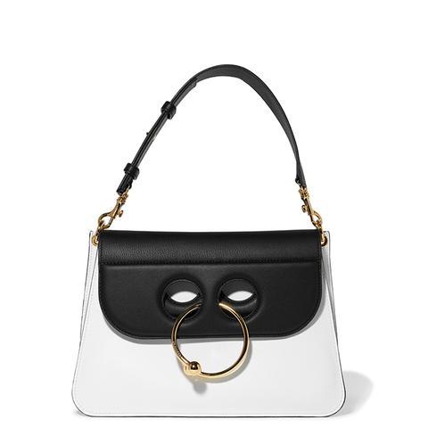 Pierce Medium Two-Tone Leather Shoulder Bag