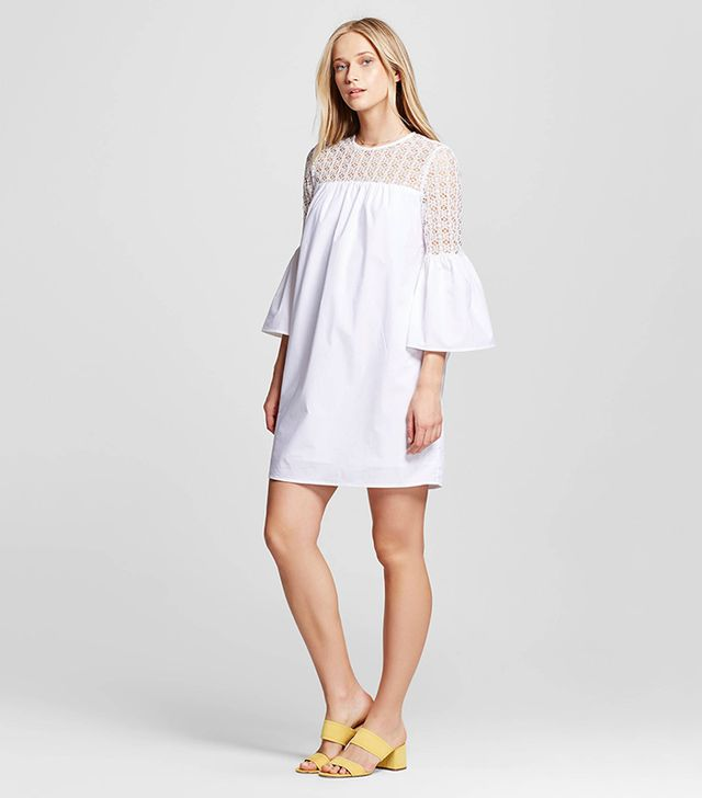 Who What Wear Eyelet Mix Mini Dress in White