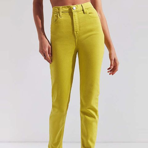 Girlfriend High-Rise Jean in Lime Green