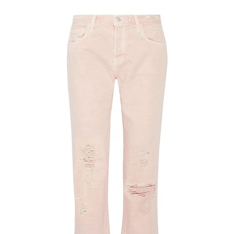 Ivy Cropped Distressed High-Rise Straight-Leg Jeans