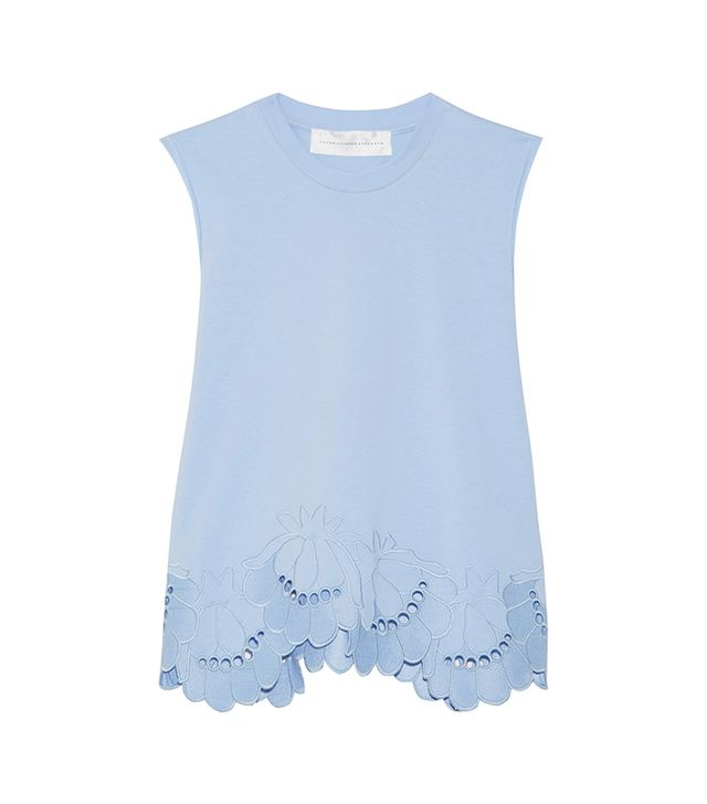 Victoria Victoria Beckham Delft Embroidered Stretch-Cotton Top