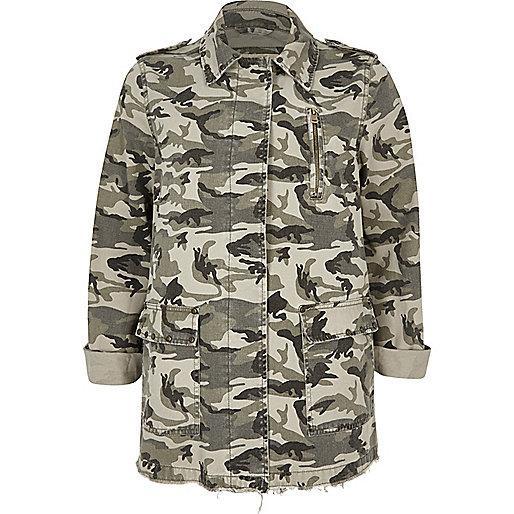 River Island Khaki Green Camo Army Jacket