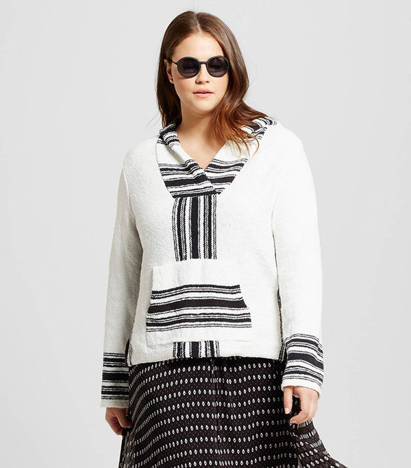 Who What Wear Collection Beach Hoodie Black and White Stripe