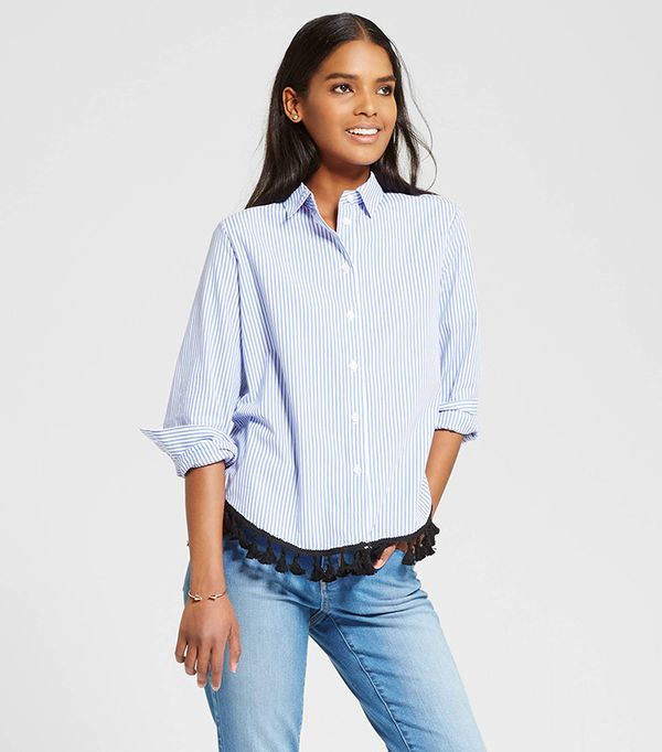 Who What Wear Collection Button Up Tassel Blouse