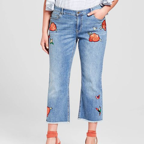 Light Wash Embroidered Jeans