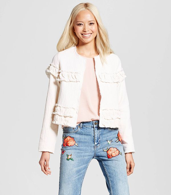 Who What Wear Collection Gauze Ruffle Jacket