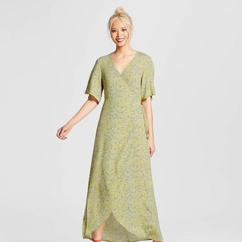 Flutter Sleeve Wrap Maxi Dress