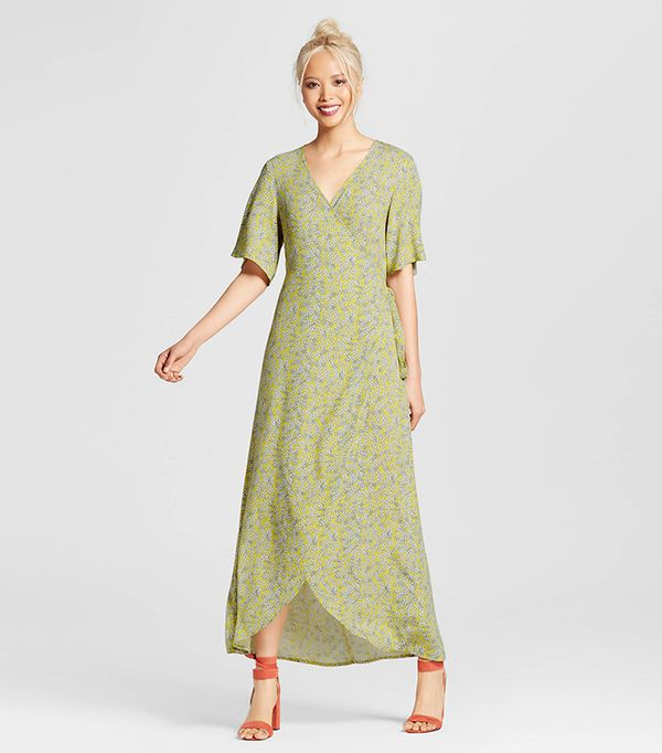 Who What Wear Collection Flutter Sleeve Wrap Maxi Dress