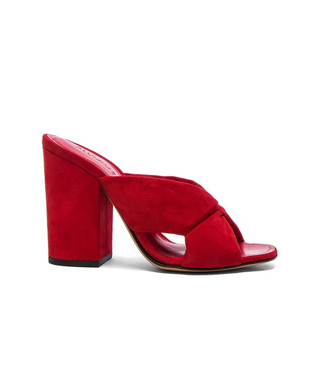 Alumnae Soft X-Slide Block Suede Heel Sandals