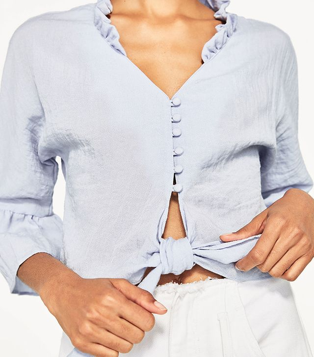 Zara Cropped Knotted Blouse with Frills