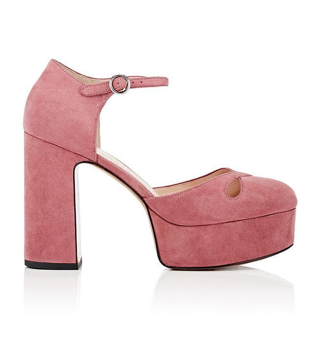 best pink platform shoes- marc jacobs Lucille Suede Platform Pumps