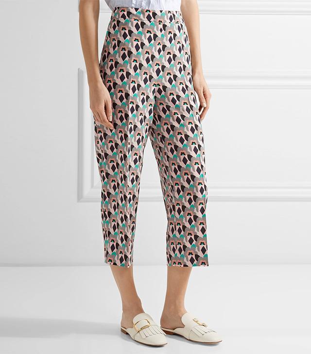 Prada Cropped Printed Silk Crepe De Chine Straight-leg Pants