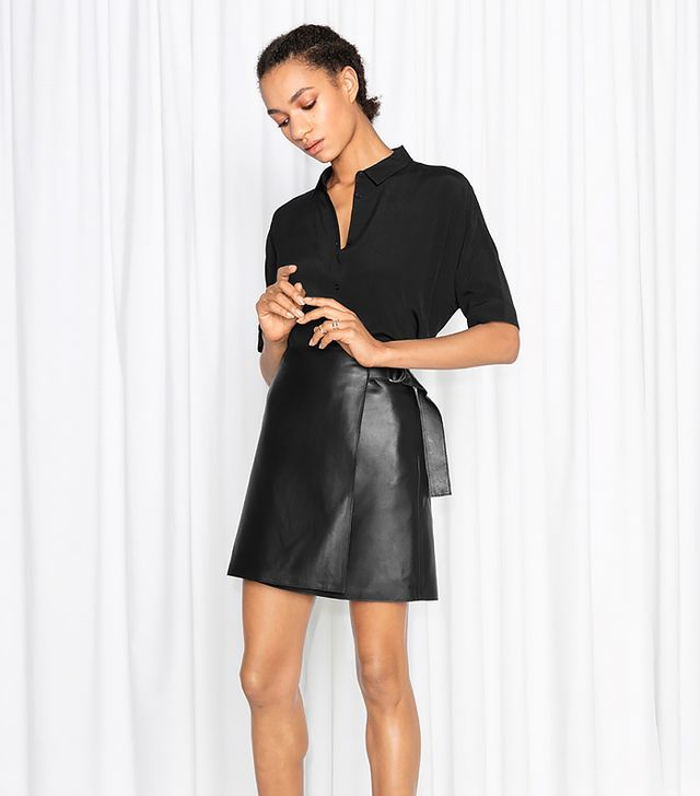 & Other Stories Wrap Leather Skirt