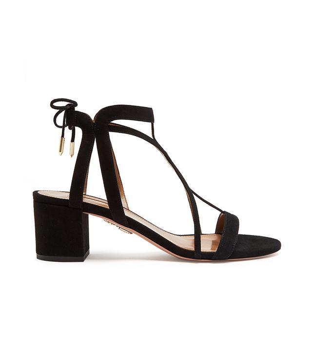 Aquazzura Fiji Block-heel Suede Sandals