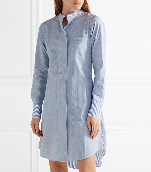 Theory Jodalee Striped Cotton-poplin Shirt Dress