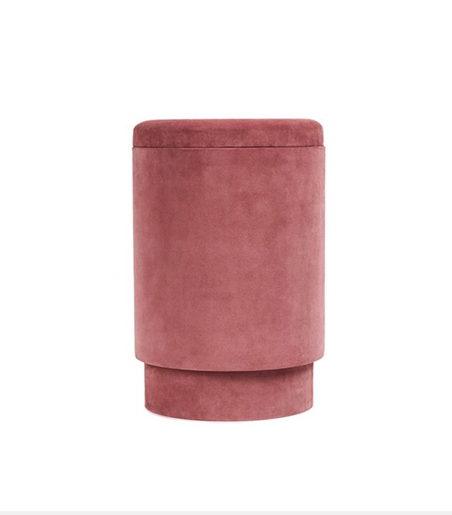 Michael Verheyden Suede Storage Stool  Vieux Rose