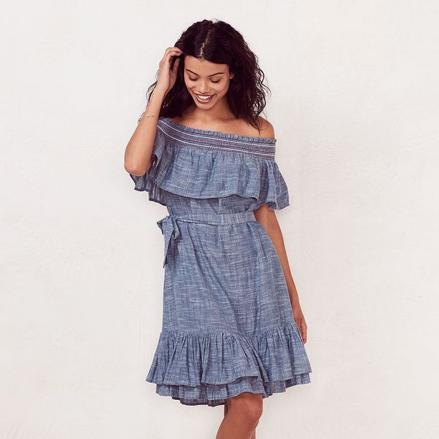 LC Lauren Conrad Smocked Off-the-Shoulder Peasant Dress