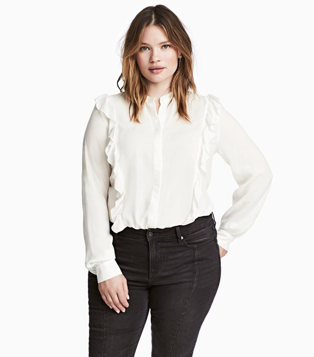 plus-sized ruffled blouse