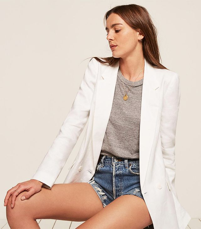 best white blazer- reformation valero jacket