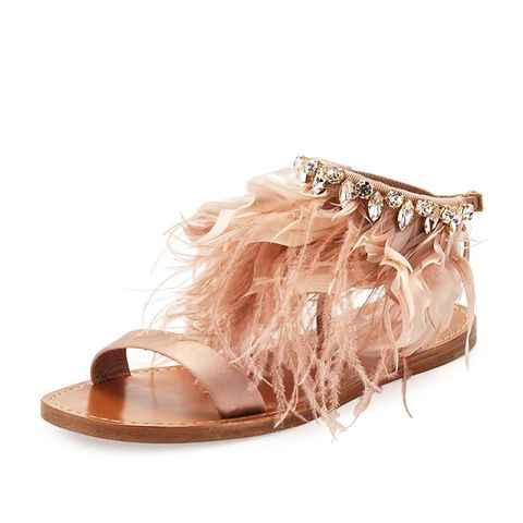 Feather-Ankle Flat Sandal