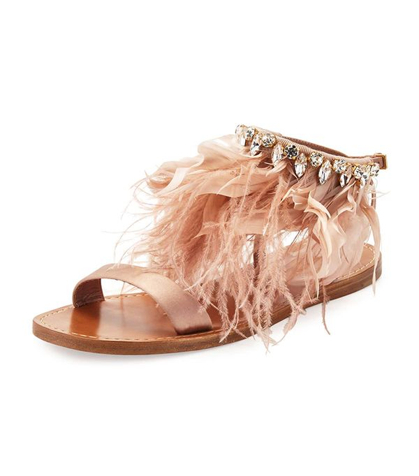 Miu Miu Feather-Ankle Flat Sandal