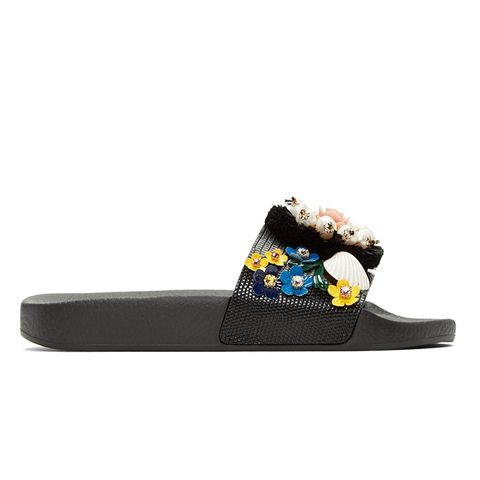 Black Flower Slide Sandals
