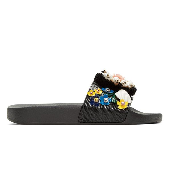 Dolce and Gabbana Black Flower Slide Sandals