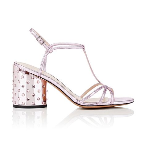 Sheena Metallic Leather T-Strap Sandals