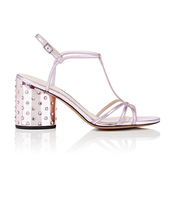 Marc Jacobs Sheena Metallic Leather T-Strap Sandals