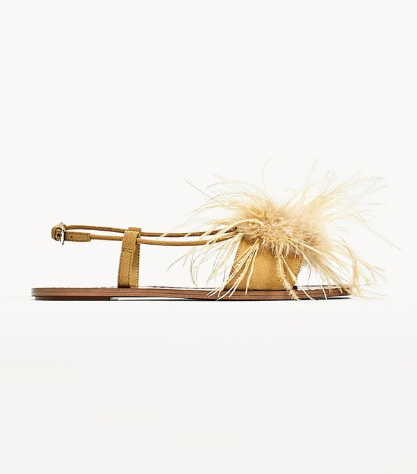 Zara Flat Sandals with Feathers Detail