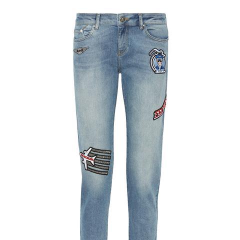 Appliquéd Mid-Rise Skinny Jeans