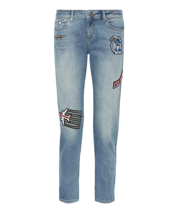 Karl Lagerfeld Appliquéd Mid-Rise Skinny Jeans